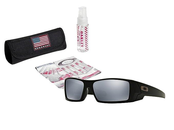 af5cbc3184fcf Oakley Gascan Sunglasses (Matte Black Frame Black Irdium Lens) with USA  Flag Lens