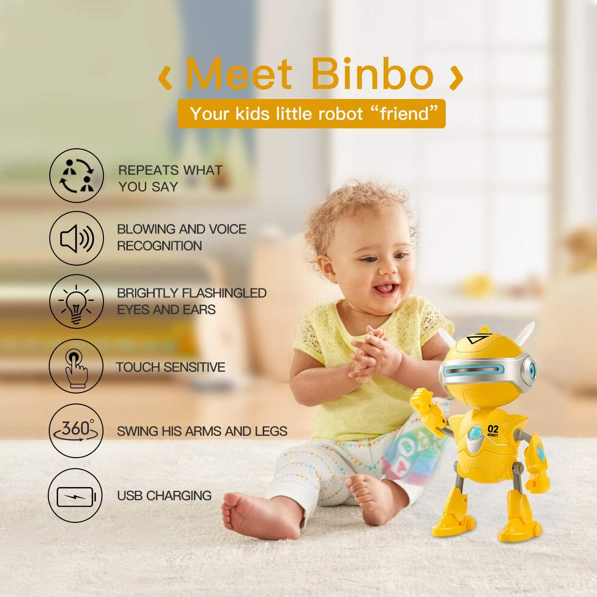 . Talking Repeat /& Swing Function Robot Toys for Boys or Girls,Robot Toys Kids Gift for Ages 3 Years Old /& Up Boy Toys Robot BINBO for Kids,Interactive Mini Robots 3.7v with USB Charging Yellow