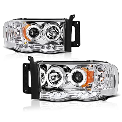 [For 2002-2005 Dodge RAM 1500 2500 3500] LED Halo Ring Chrome Projector Headlight Headlamp Assembly, Driver & Passenger Side: Automotive