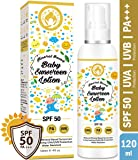 Mom & World Mineral Based Baby Sunscreen Lotion, SPF 50 PA+++, 120ml - UVA/UVB Protection, Water Resistance