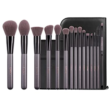 55d05614c406 Amazon.com  DUcare Makeup Brushes 15Pcs Professional Makeup Brush Set  Cosmetic Foundation Powder Blending Contour Lip EyeShadow Eyebrow with  Portable Vanity ...
