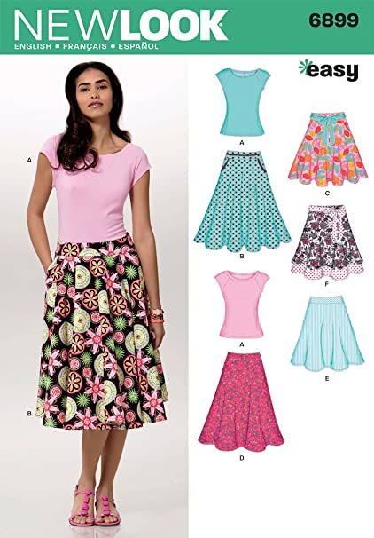 Amazon New Look Sewing Pattern 6899 Misses Skirts With Knit Top