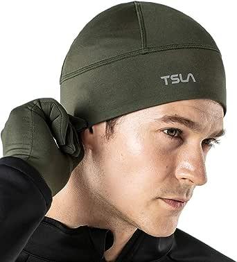 TSLA Skull Cap Thermal Fleece Line Active Beanie Helmet Liner Unisex (1,2 Pack)