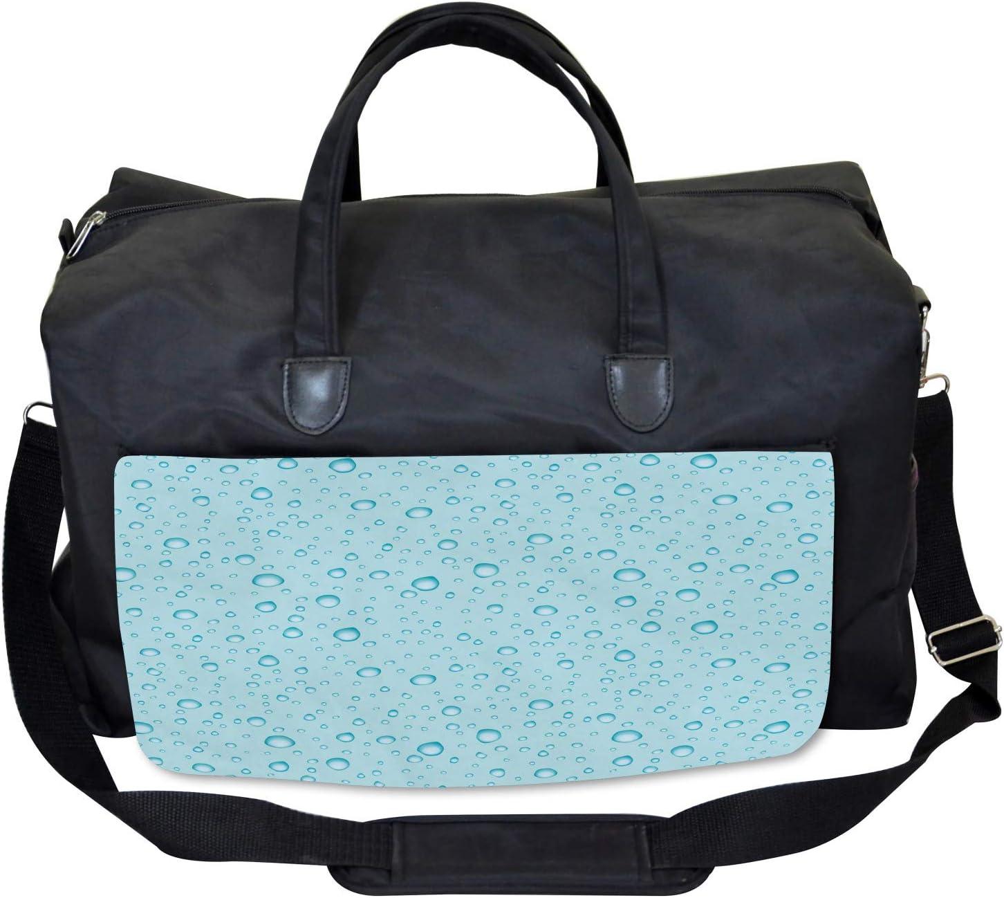 Ambesonne Aqua Gym Bag Water Drops Oceanic Naval Large Weekender Carry-on