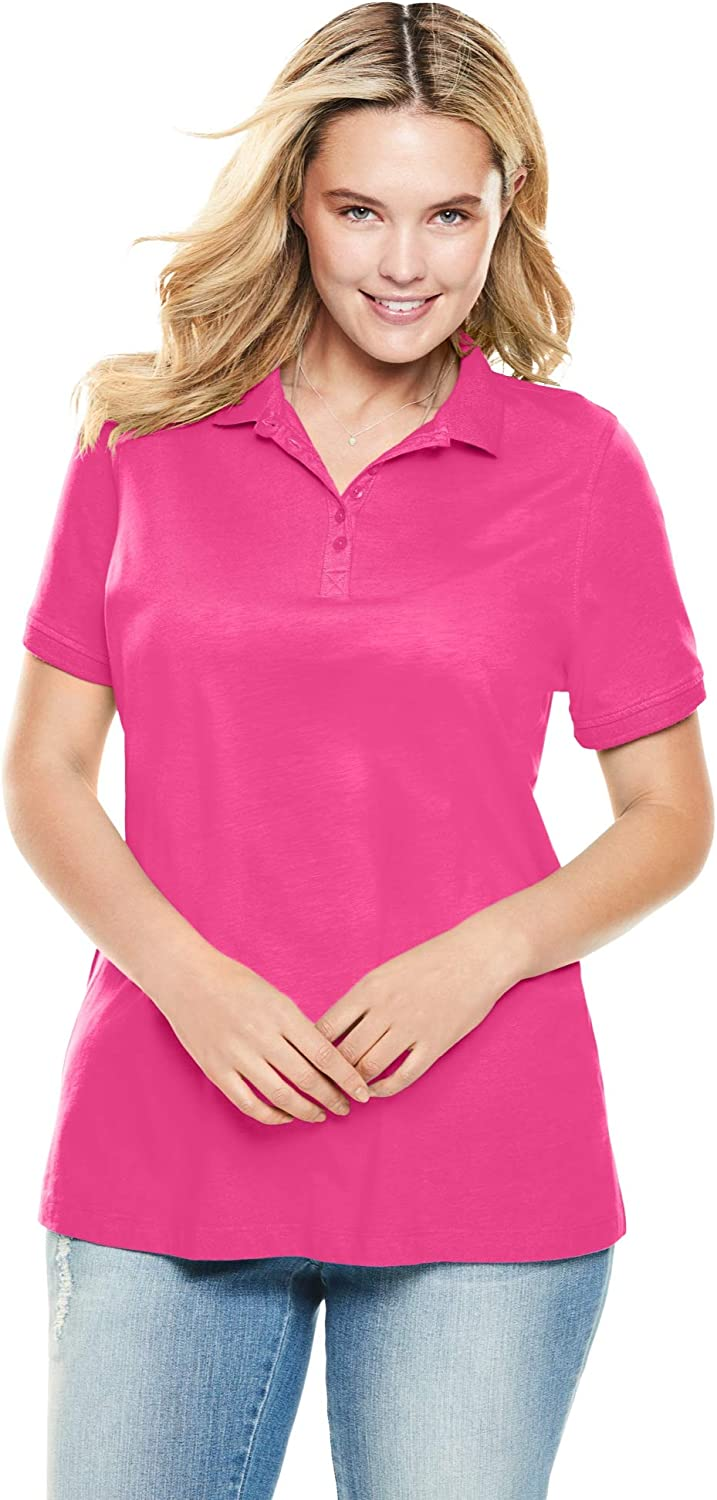 Woman Within Women's Plus Size Perfect Short-Sleeve Polo Shirt at  Women's Clothing store
