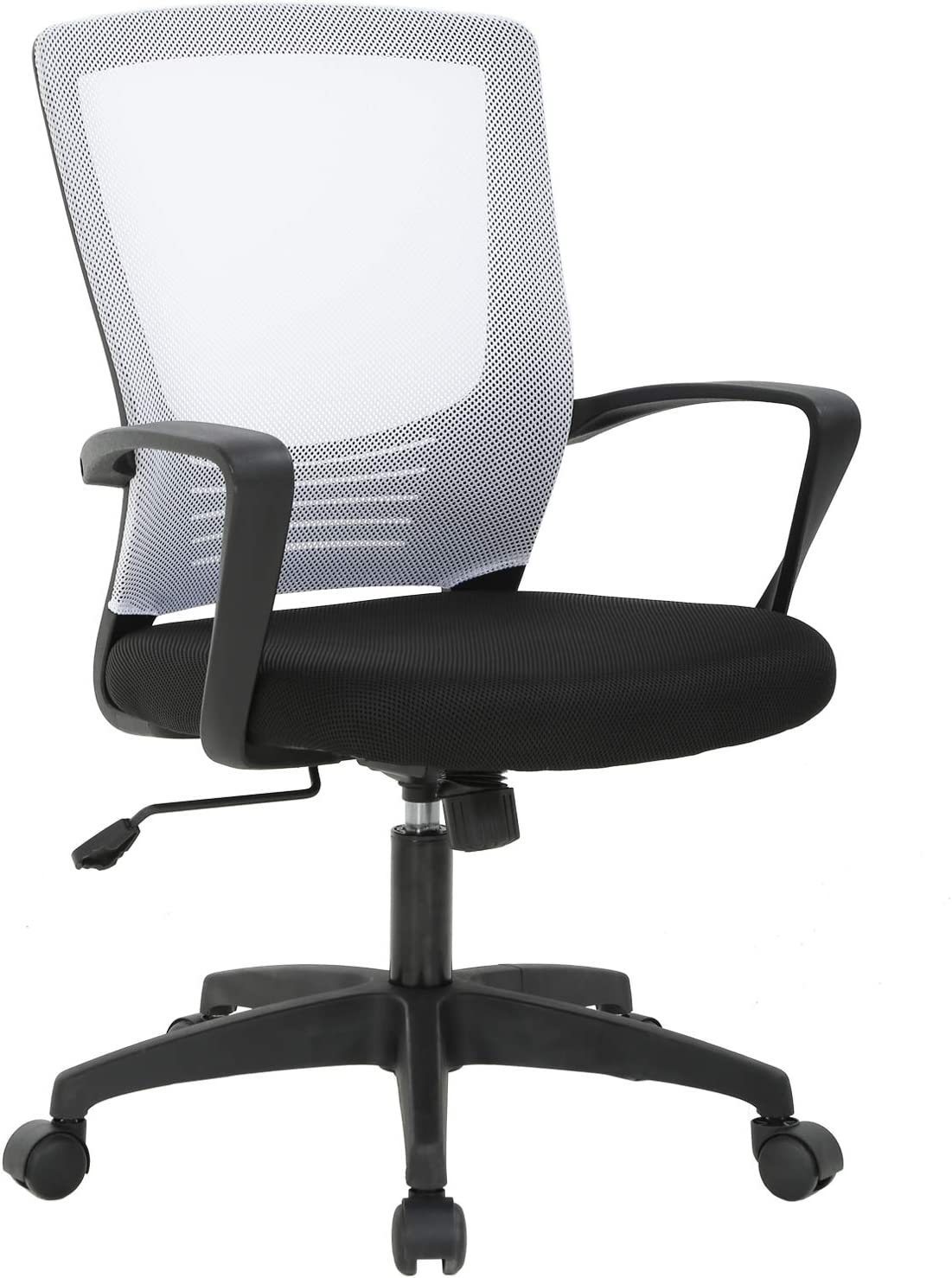 Ergonomic Office Chair Desk Chair Mesh Computer Chair Rolling Swivel Modern Executive Chair Adjustable Stool Back Support for Women&Men, White