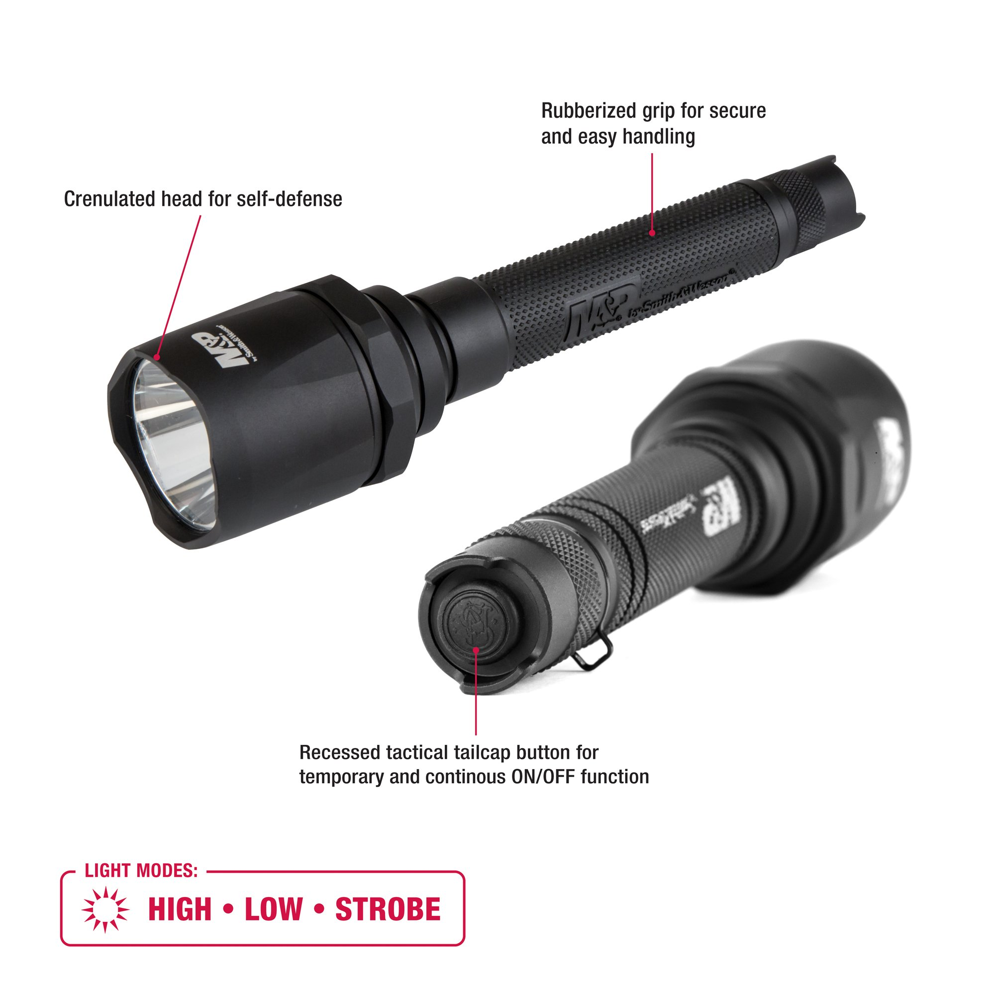 M&P by Smith & Wesson Delta Force FS-10 CREE Flashlight 2100 Lumens 3 Mode Waterproof Memory Retention Tactical Hunting Camping Hiking Fishing Self-Defense Full Size by Smith & Wesson (Image #2)