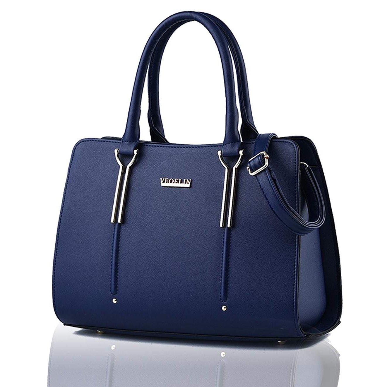 PU Leather Handbags for Women Soft Leather Purse Large Hobo Handbag Shoulder Bag Fashion Top handle (Dark blue)