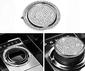 NIUHURU Car Interior Trim Bling Accessories Gear Shift Knob Crystal Decals fit for Land Rover Range Rover Evoque Jaguar XJ XE XF F-Type F-PACE I-PACE E-PACE Accessories (Silver, Fit for Land Rover)