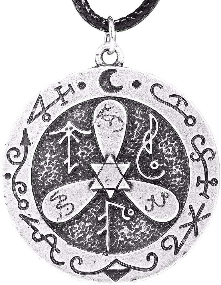 Sigil To Banish Harmful Spirits Pendant Necklace Pagan Jewelry Tibetan Silver Necklaces Pendants Male Collar Lead Free