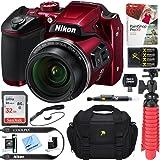Nikon COOLPIX B500 16MP 40x Optical Zoom Digital Camera w/Built-in Wi-Fi NFC & Bluetooth (Red) + 32GB SDXC Accessory Bundle