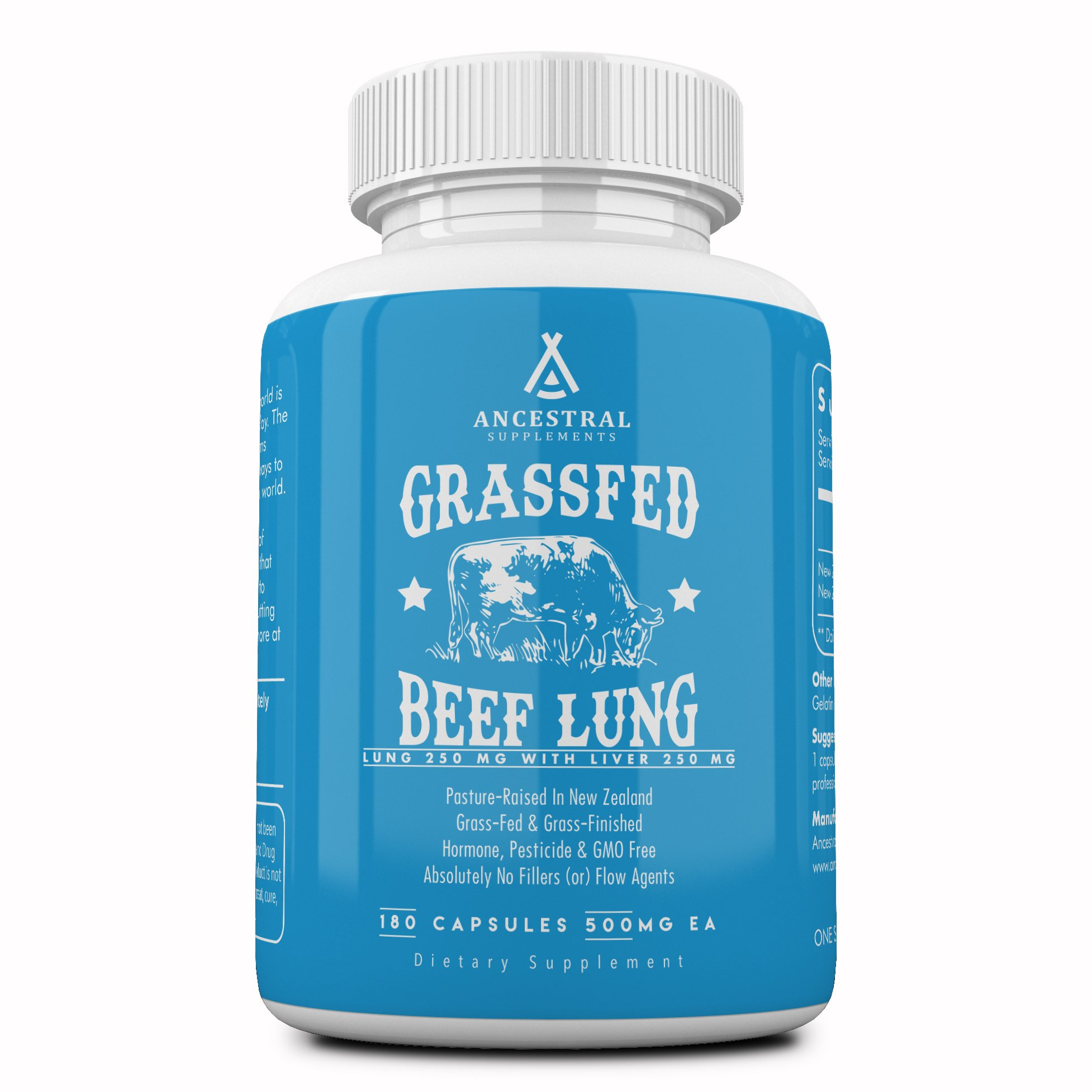 Ancestral Supplements Beef Lung (w/Liver) — Supports Lung, Respiratory, Vascular and Circulatory Health (180 Capsules)