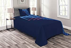 Ambesonne Airplane Bedspread, Digital View Canadian Descending Snowbirds up in The Air Flight Illustration, Decorative Quilted 2 Piece Coverlet Set with Pillow Sham, Twin Size, Blue Red