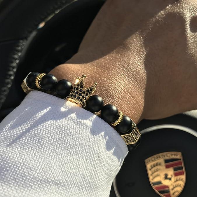 Round White & Brown Crystal Bead Fashion Streach Bracelet $150 Jewelry & Watches Bracelets