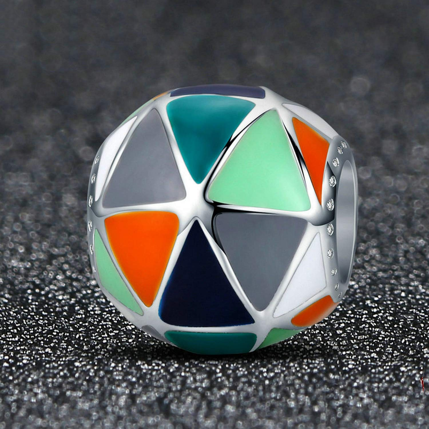 EverReena Beads Art Geometric Triangle Enamel for Silver Bracelets