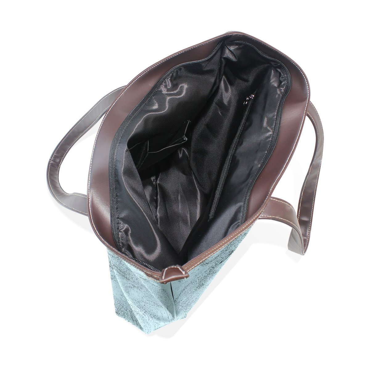 Ye Store Wolf Face Blue Flat Lady PU Leather Handbag Tote Bag Shoulder Bag Shopping Bag