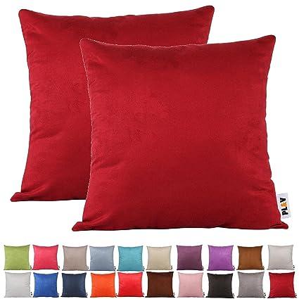 PLANDV® Color sólido Ante sintético Ligero Funda de cojín (2 Unidades, Disponible en 21 Colores y 7 tamaños, Granate, 40x60cm