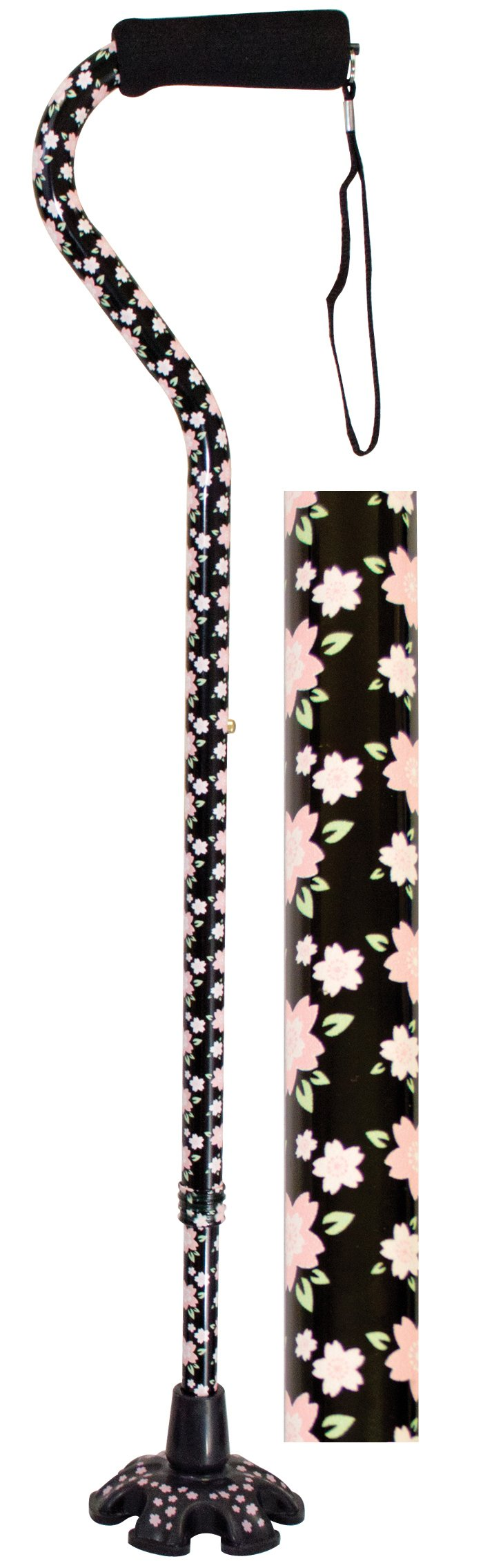 Essential Medical Supply Couture Offset Fashion Cane with Matching Standing Super Big Foot Tip, Pink Floral Style