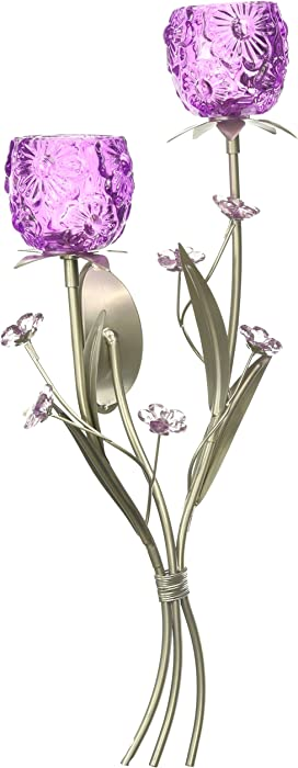 Koehler Home Kitchen Decorative Gift Fuchsia Blooms Floral Candle Holder Wall Sconce