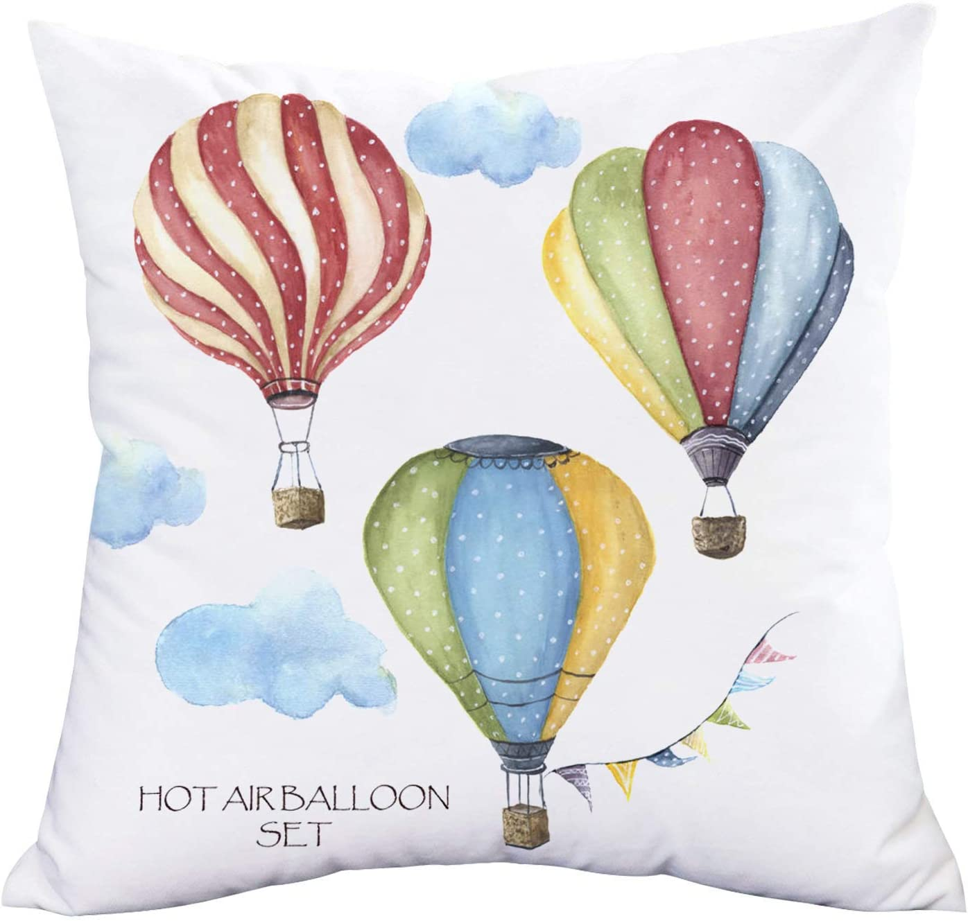 Amazon Com Vintage Colorful Hot Air Balloon Super Soft Throw Waist Pillow Case Cushion Cover Travel All Over The World Home Decorative Pillowcase For Sofa Couch 18 X18 Hot Air Balloon 05 Home