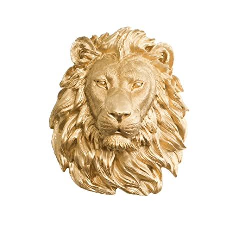 Amazon.com: Wall Charmers Lion in Gold - Faux Head Bust Mounted ...