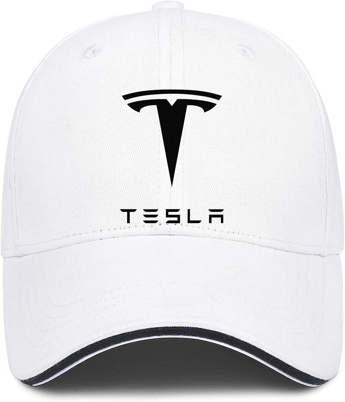 NIDHBD Cool Cool-Black-Tesla-car-Symbol-Logo-Emblem-White Dad Hats Womens Mens