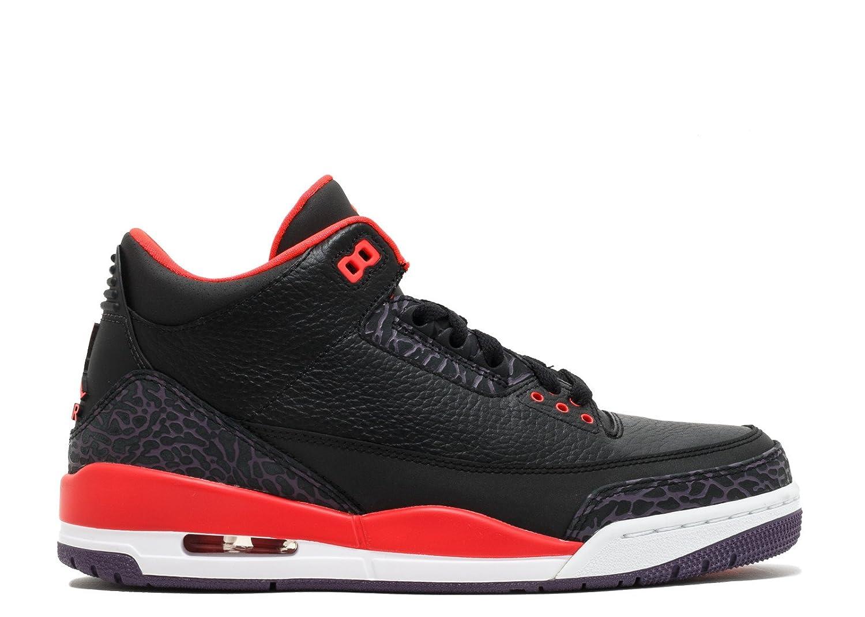new style 6a246 3044e Amazon.com   Jordan Mens Nike Air Retro 3 BRED Basketball Shoes  Black Bright Crimson Purple 136064-005 Size 12   Fashion Sneakers