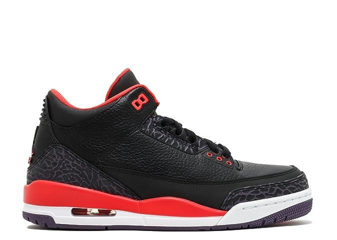 new style abe80 cd9bb Amazon.com   Jordan Mens Nike Air Retro 3 BRED Basketball Shoes  Black Bright Crimson Purple 136064-005 Size 12   Fashion Sneakers