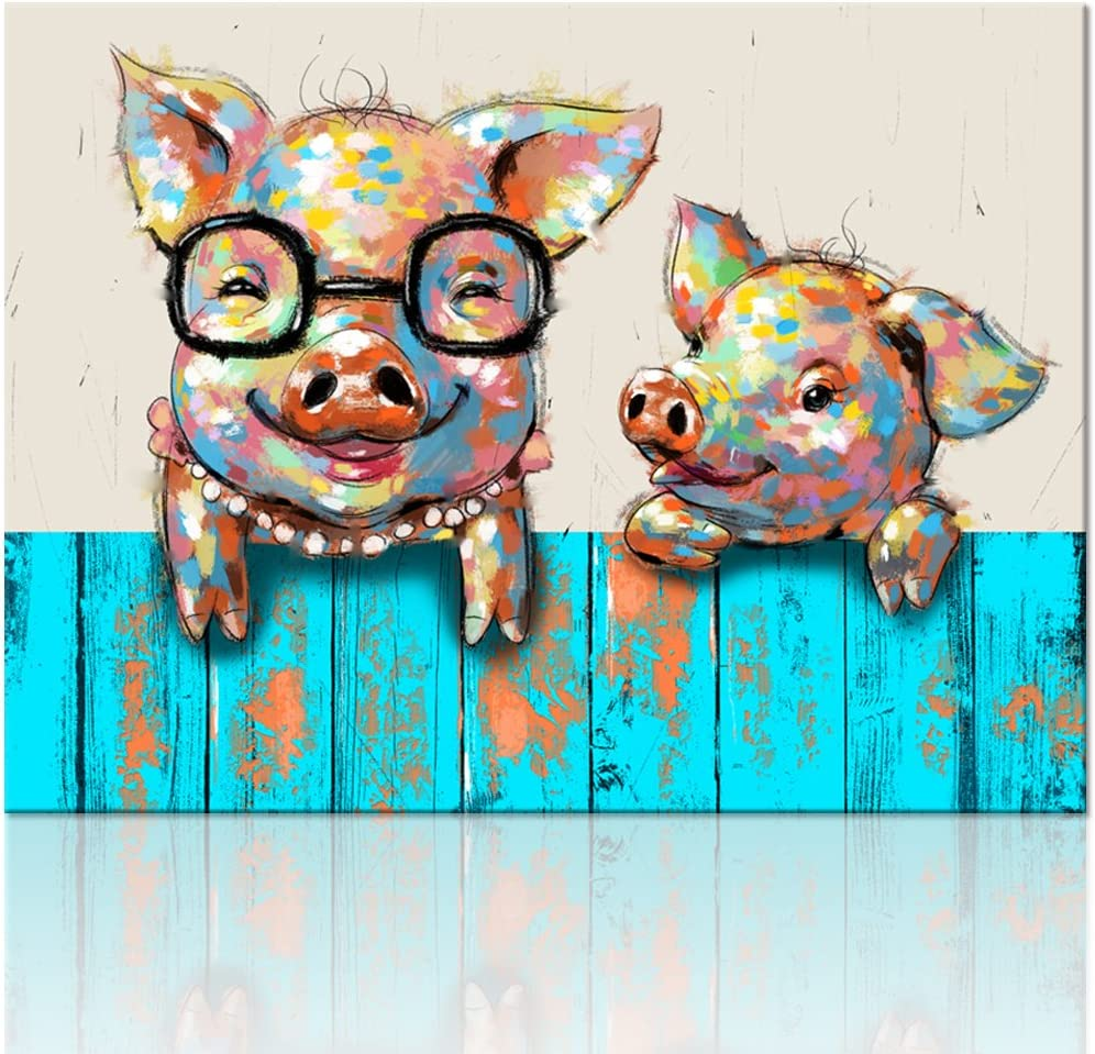 "Visual Art Decor Cartoon Animal Canvas Wall Art Lovely Funky Pigs Painting Prints with Frame Ready to Hang Modern Picture for Kid's Room Home Wall Decoration (24""x32"")"