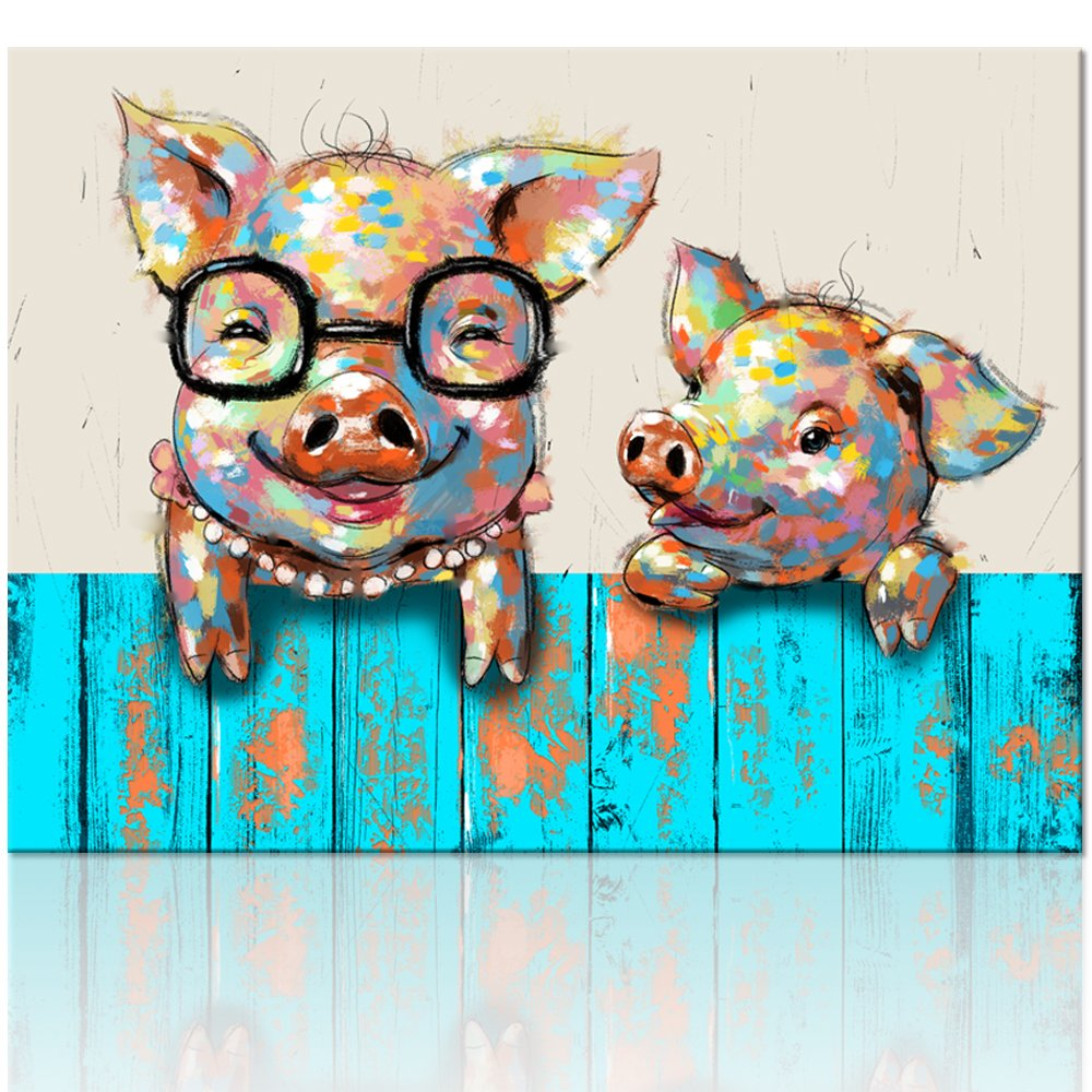 "Visual Art Decor Cartoon Animal Canvas Wall Art Funky Pigs Digital Painting Prints with Frame Ready to Hang Modern Picture for Kid's Room Home Wall Decoration (16""x20"")"