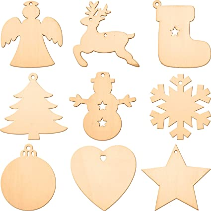 Blulu Wooden Cutouts Christmas Ornaments Hanging Ornaments Various Patterns For Holiday Decoration And Diy Craft Making 72 Pieces