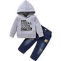NCONCO Juego de 2 piezas para niños con capucha de manga larga + pantalones con agujero para otoño e invierno para niños…