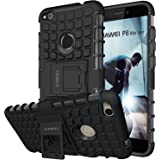 Huawei P8 Lite 2017 Case,ALDHOFA Heavy Duty Shock Proof Rugged Armor Protective Phone Case,Dual Layer Hybrid Cover with Kickstand for Huawei P8 Lite 2017-Black