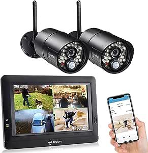 "SEQURO GuardPro DIY Long Range Home Security Camera System,Outdoor Surveillance Camera, Portable 7"" Touchscreen HD Monitor, Night Vision, IP66 Weatherproof Easy Setup CCTV Security Cameras"