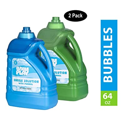 BubblePlay 2 Bottles - 64-Ounce Bubble Solution - for Fun Bubble Machines, Refills, Birthdays for Kids All Ages - Non Toxic: Toys & Games