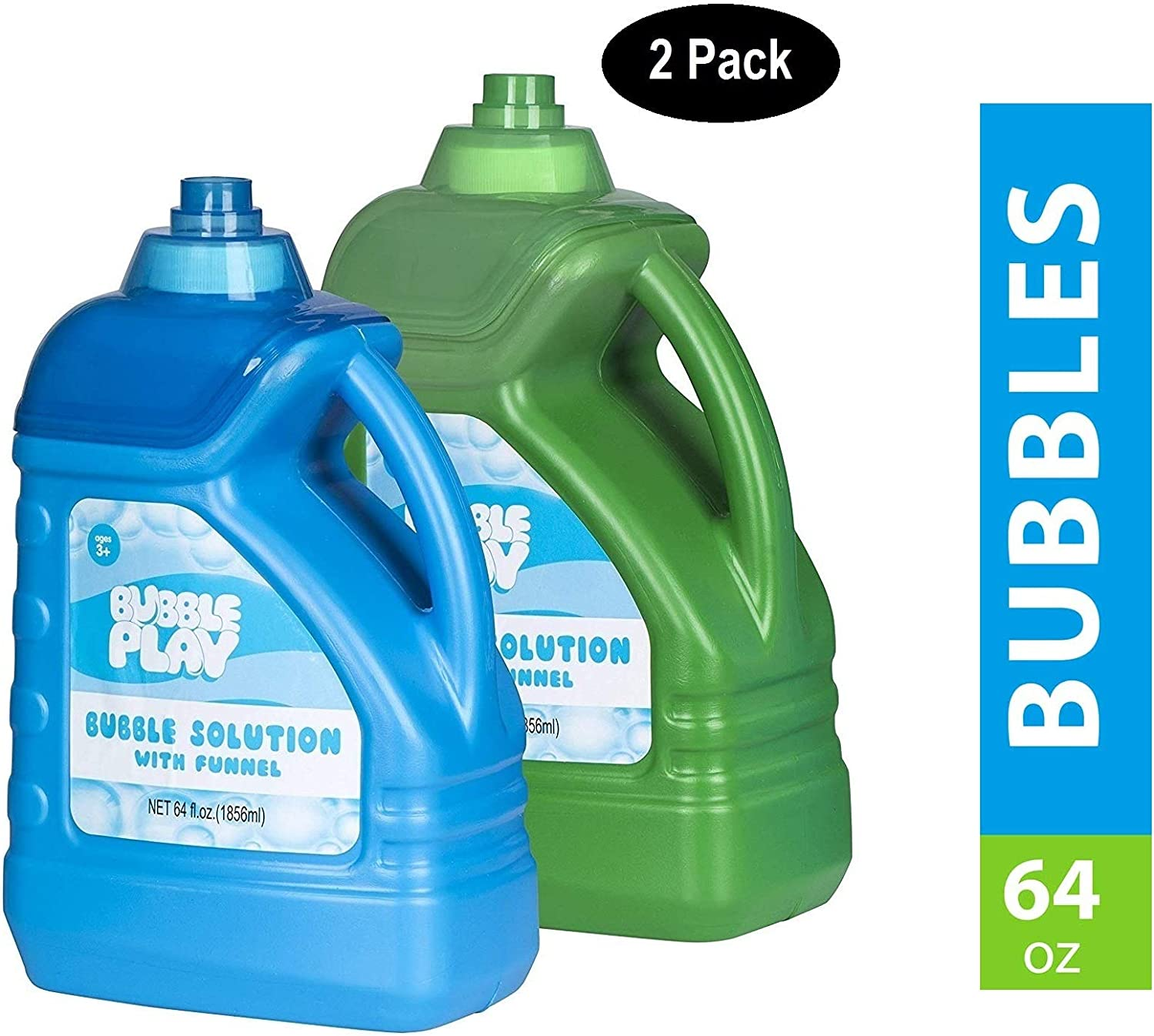 BubblePlay 2 Bottles - 64-Ounce Bubble Solution - for Fun Bubble Machines, Refills, Birthdays for Kids All Ages - Non Toxic