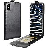 iPhoneXケース 手帳型 レザーケース 縦開き 写真収納 カードホルダー 縦型 上下開きタイプ レザーケース スマホ カバー アイフォンx スマホ ジャケット (iPhoneX, ブラック)