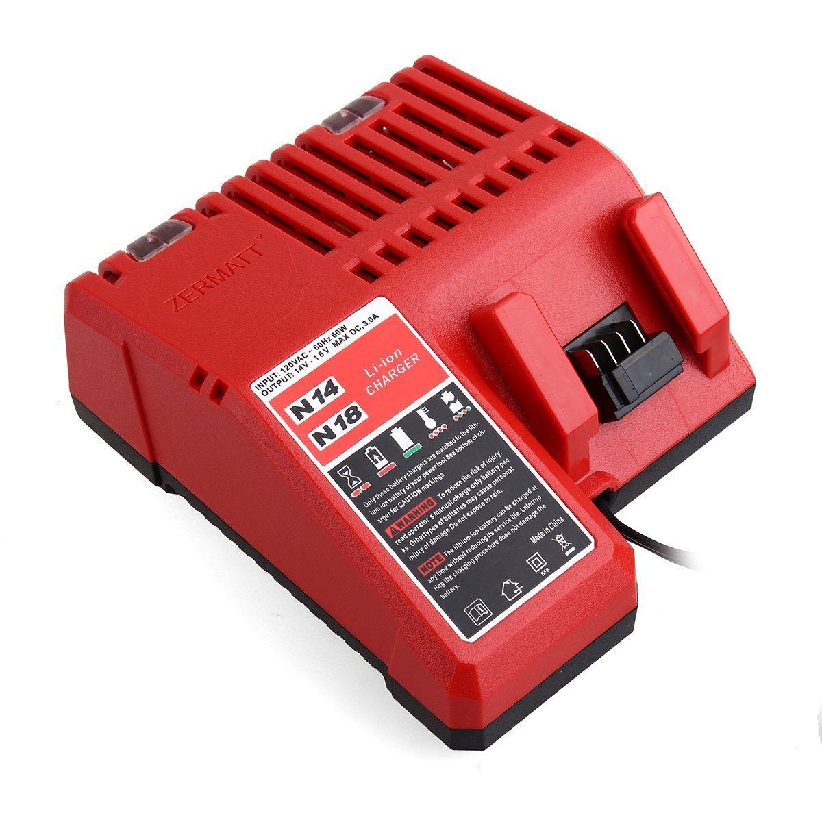 48-59-1840 14,4-18 V Li-ion Lot de 2 batteries M1850 18V 5,0Ah avec chargeur pour Milwaukee M18 48-59-1812 48-59-1807 48-59-1806