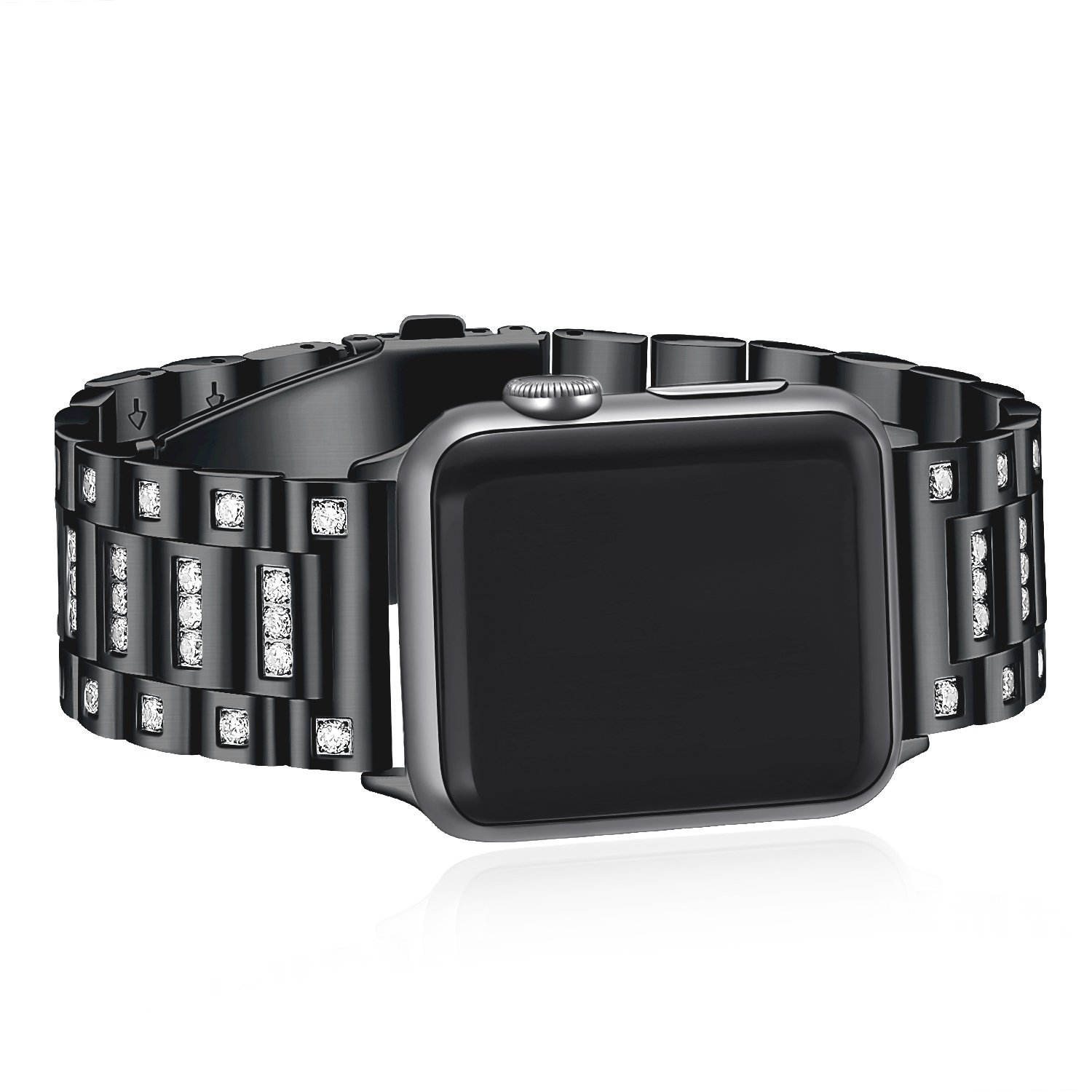 For Apple Watch Bands,White Crystal Diamond Loop Replacement Strap for iwatch series 3 2 1-42mm Black