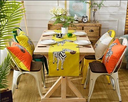 Yaonai zebra table runners modern style cotton and linen blend