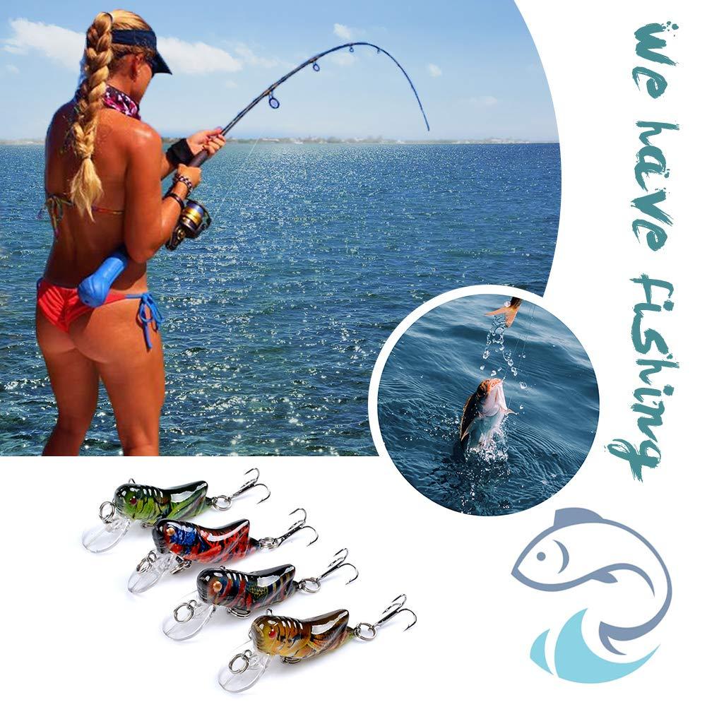 JUNERAIN Bionic Plastic Fishing Lure Insect Grasshopper Flying Wobbler Baits 4pcs