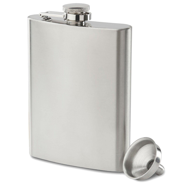Premium 8 oz Black, Leakproof, Flask - Highest Food Grade (304) Stainless Steel - Liquor Hip Flasks - Free Bonus Funnel and Black Gift Box (Matte Black, 8 Ounce) Future Hydrate 0793200513578