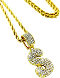 7ff55466ca376 Amazon.com: Bubble Gold Plated Crystal Letters M Pendant Rope Chain ...