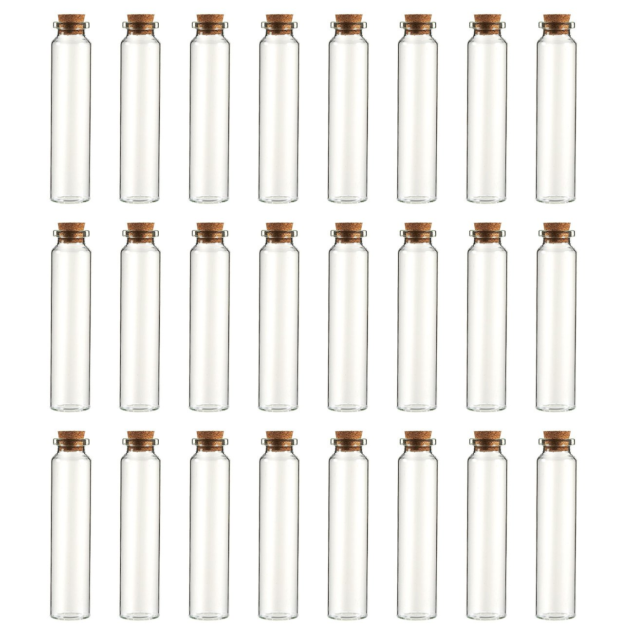 Clear Glass Bottles with Cork Lids- 24-Pack Mini Transparent Jars with Stoppers for Vintage Wedding Decoration, DIY, Home, Party Favors, 4 Inches Tall, 8.45-Ounce