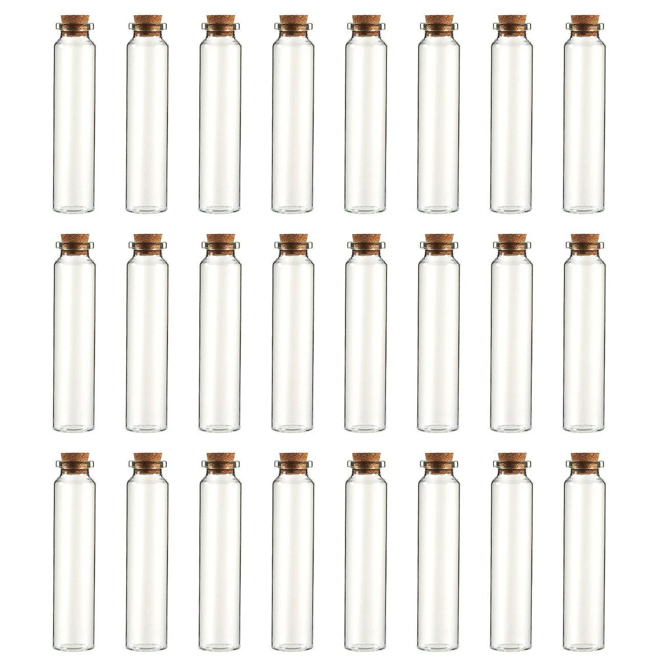 Clear Glass Bottles with Cork Lids- 24-Pack Mini Transparent Jars