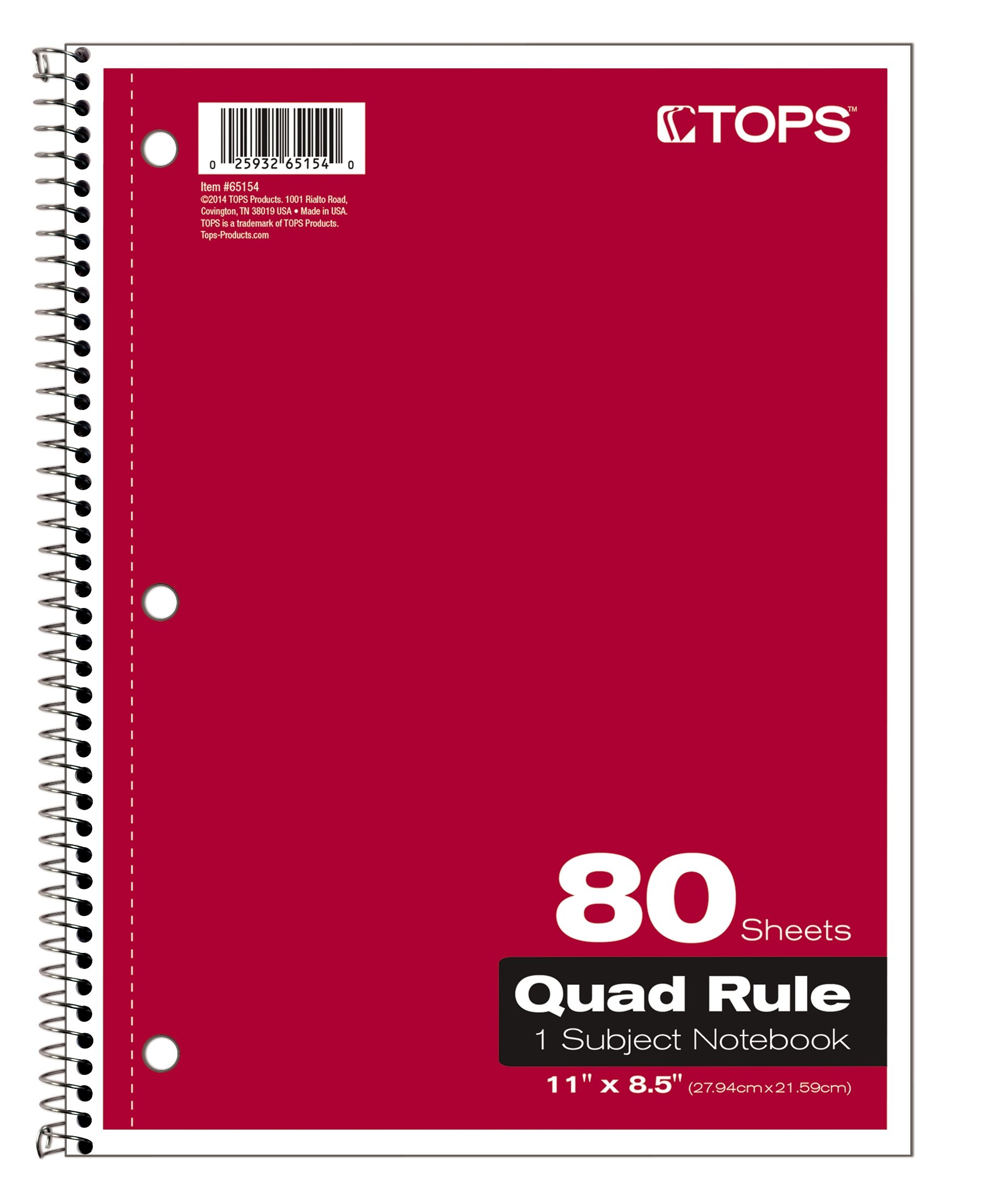 TOPS Quadrille Ruled Kraft Notebook, 8.5 x 11 Inch, 3-Hole Punched, 80 sheets, Colors May Vary (65154)