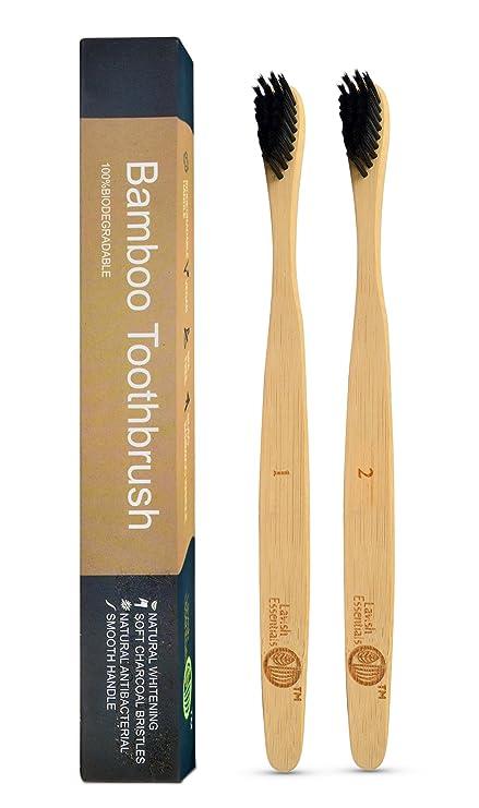 Cepillo de dientes de bambú, biodegradable, 4 unidades, orgánico, biodegradable, de