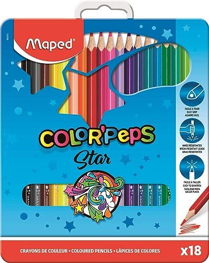 Maped Color Peps 832015 Juego de 18 lápices de color caja Metal: Amazon.es: Oficina y papelería