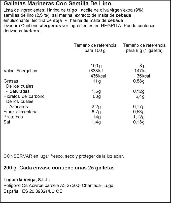Marineras Daveiga - Crackers de trigo (Semillas de lino) 24 ...