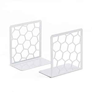 Geomod Decorative Geometric Honeycomb Metal Bookends (Gray, 1 Pair) Book Ends for Tables, Desks, Shelves